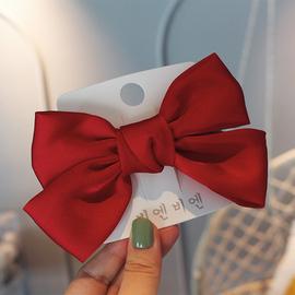 韩国儿童洋气缎面蝴蝶结发夹公主后脑勺发卡女童气质顶夹网红头饰