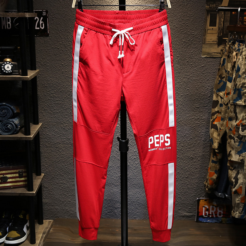 12月03日最新优惠潮牌红色韩版潮流修身九分运动裤子