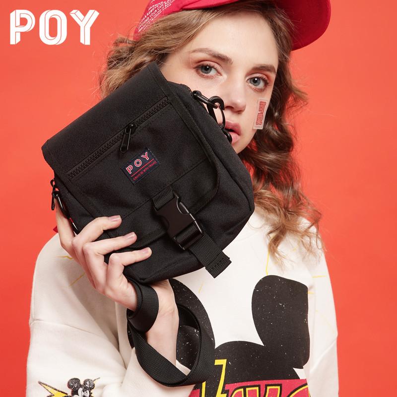 POY®包包女斜挎包2020新款潮帆布小包运动风背包男百搭挎包单肩包