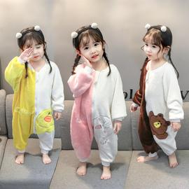 婴儿春秋季睡袋儿童法兰绒珊瑚绒连体睡衣宝宝加绒加厚分腿防踢被
