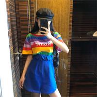 网红ins超火彩虹字母条纹短袖t恤女新款韩版宽松闺蜜装夏季上衣潮