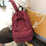 日系书包轻度少女古着感纯色双肩包尼龙防水校园学生ins超火背包