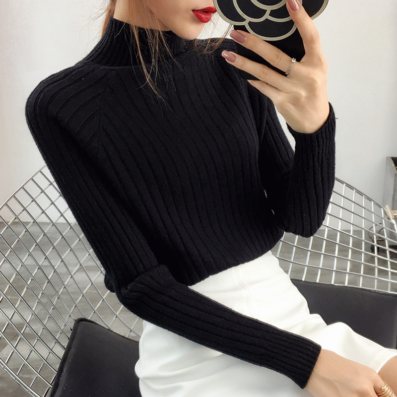 High neck thickened sweater womens autumn and winter new Korean womens loose Pullover Sweater long sleeve sweater bottoming shirt