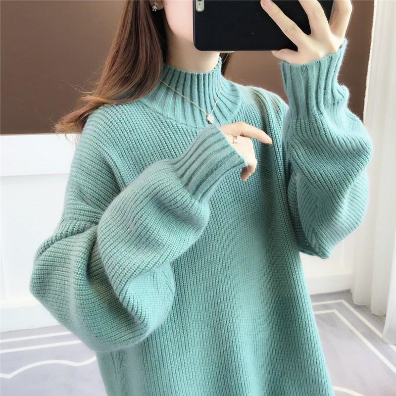 Medium length semi turtleneck sweater womens thickened inside with bottom coat