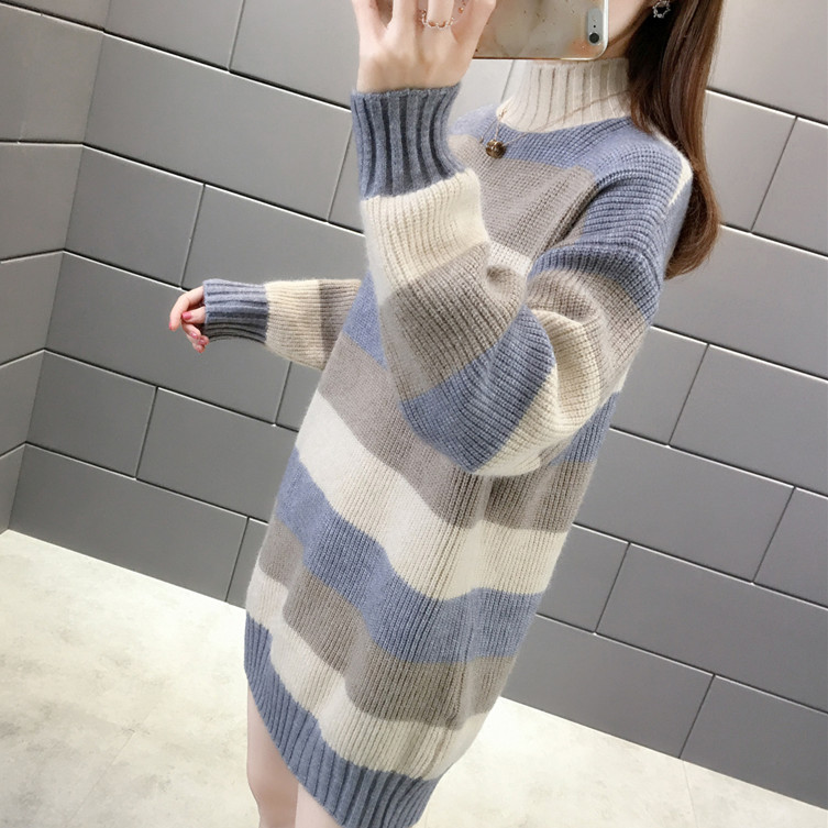 Autumn and winter new mid long half high neck thickened sweater for women