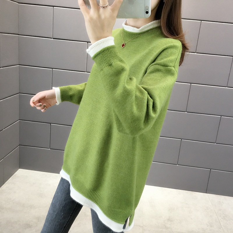 Medium length thickened sweater for womens loose fit to wear new Korean Pullover Sweater in autumn and winter of 2019