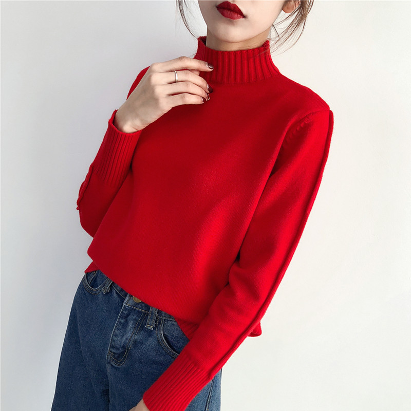 Thickened half high neck red sweater womens new loose Pullover long sleeve bottomed sweater in autumn and winter 2020