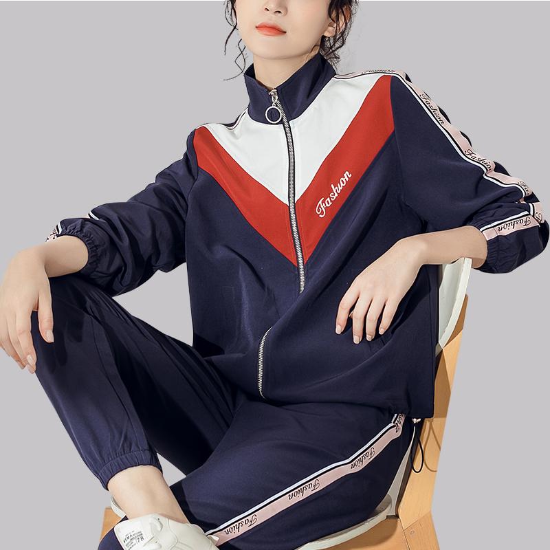 蓝色时尚运动服套装女春秋季2019新款立领长袖开衫宽松休闲两件套