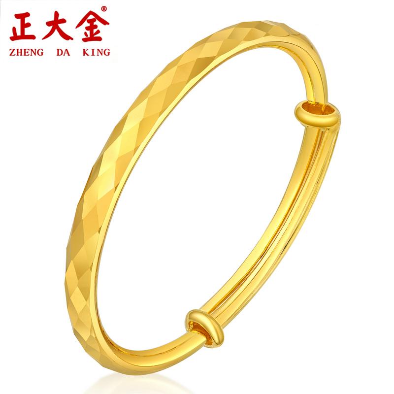 Zhengda jinzujin 9999 gold bracelet with smooth surface, water cube pattern, womens round tube push-pull ring