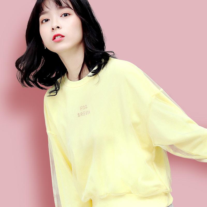 黄色网纱卫衣女春秋薄款2020新款圆领无帽宽松韩版短款上衣潮外套