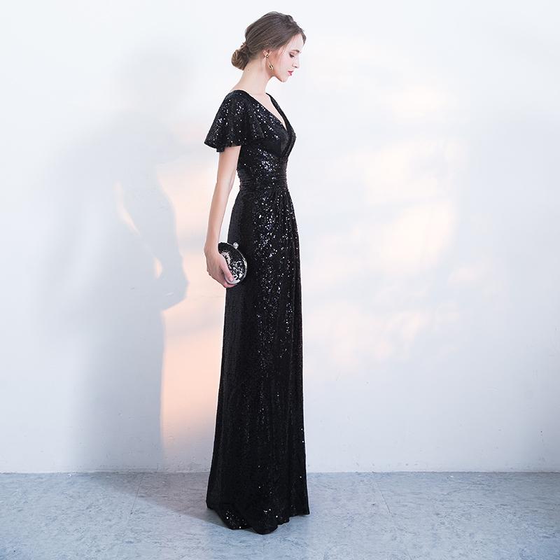 黑色晚礼服女2018新款长款高贵优雅鱼尾宴会主持人礼服女派对聚会