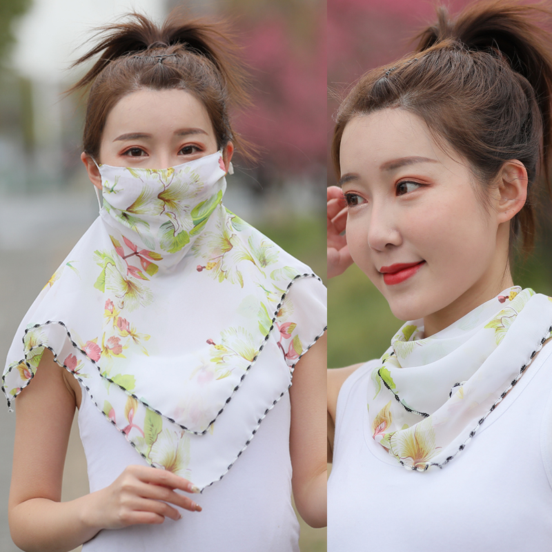 Summer sunscreen Chiffon mask fully covers the face, anti ultraviolet bib, small silk scarf, breathable neck protection, face thin veil, female