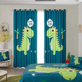 儿童房窗帘男孩卧室飘窗阳台卡通恐龙遮光隔热防晒窗帘布成品定制