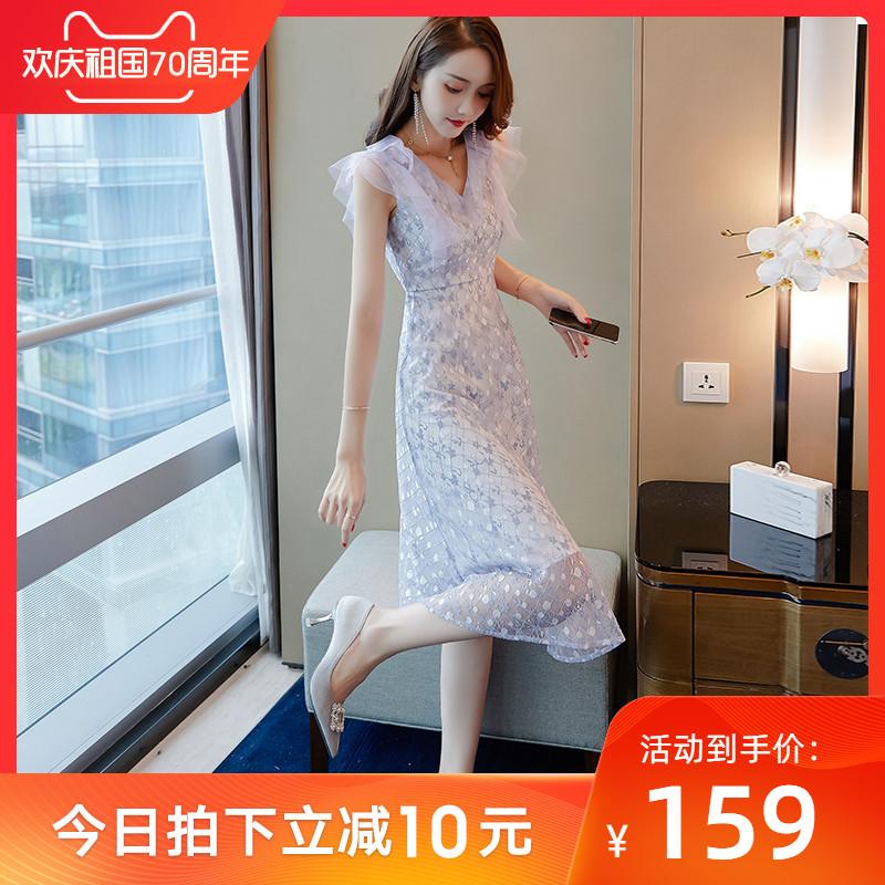 169.00元包邮很仙的法国小众桔梗蕾丝连衣裙2019新款女夏网纱裙子仙女超仙森系
