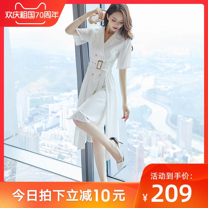 219.00元包邮ol白色西装连衣裙2019新款女夏中长款气质女神范衣服正式场合裙子