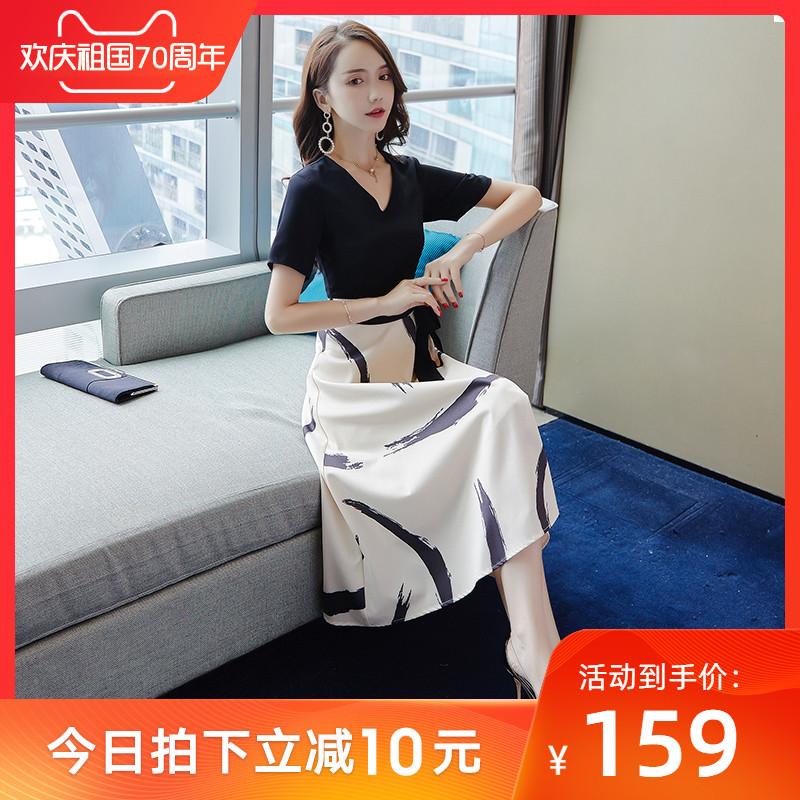 (用10元券)针织2019新款女夏收腰显瘦连衣裙