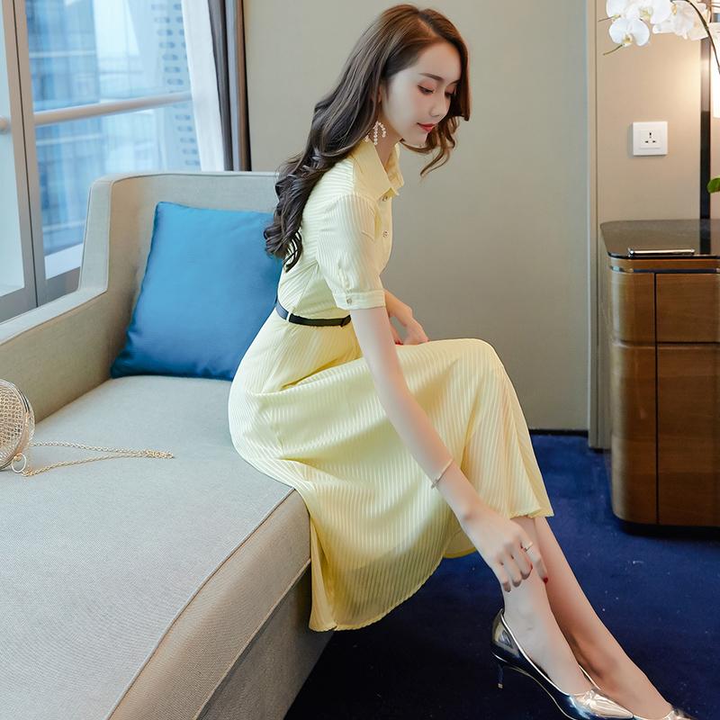 輕熟風雪紡襯衫連衣裙2020新款女裝夏淑女收腰顯瘦氣質女神范衣服