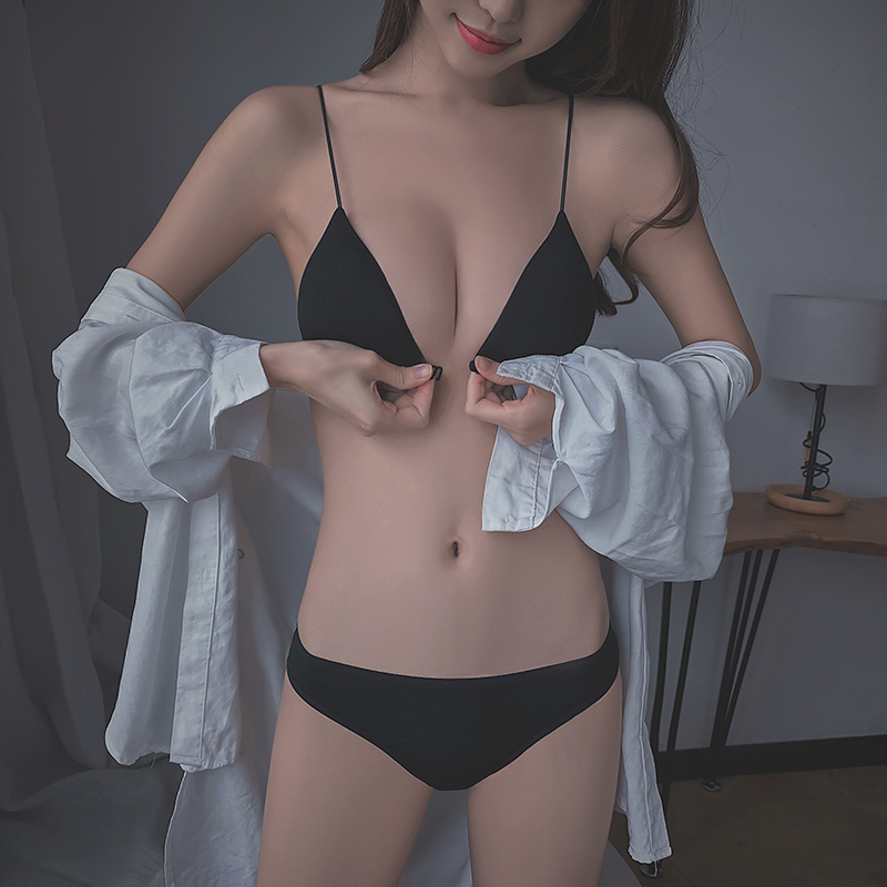 性感惑无钢圈内衣女聚拢小胸罩超薄款夏法式美背吊带前扣文胸套装