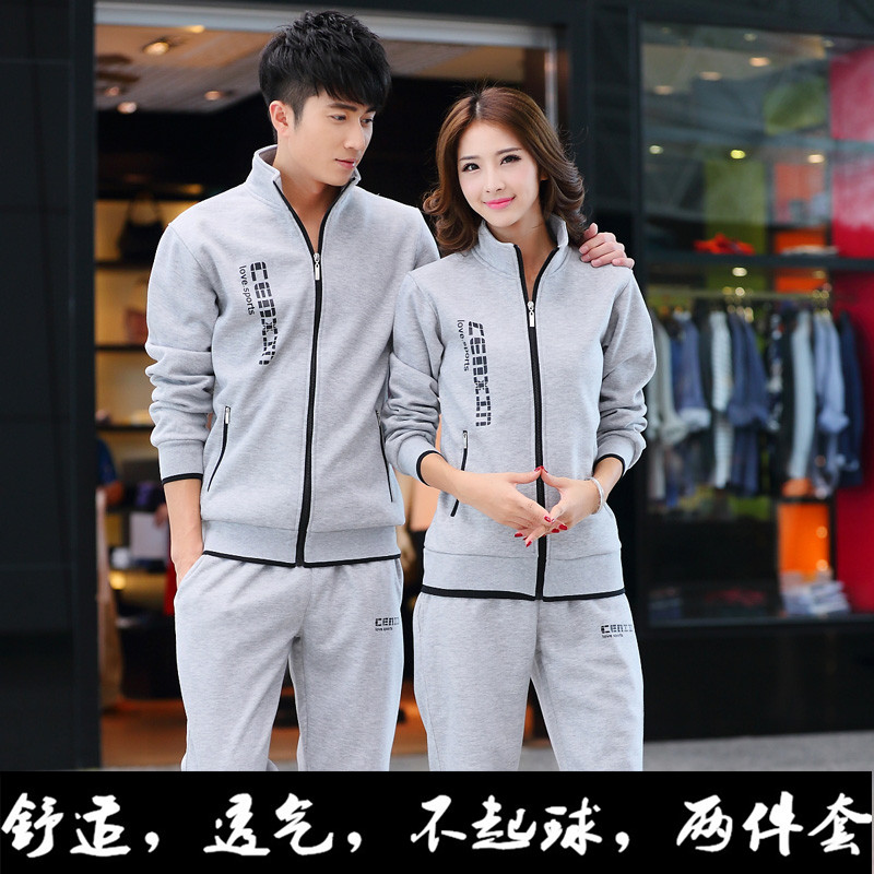 Autumn and winter mens leisure sports suit large long sleeve couples sweater running suit two-piece student coat fashion