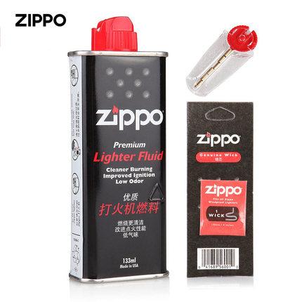 ZIPPO打火机油133ML355ML专用火石棉芯美国原装正品正版配件煤油