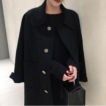 反季黑色双面羊绒羊绒大衣女中长款高端宽松特价娃娃领毛呢外套