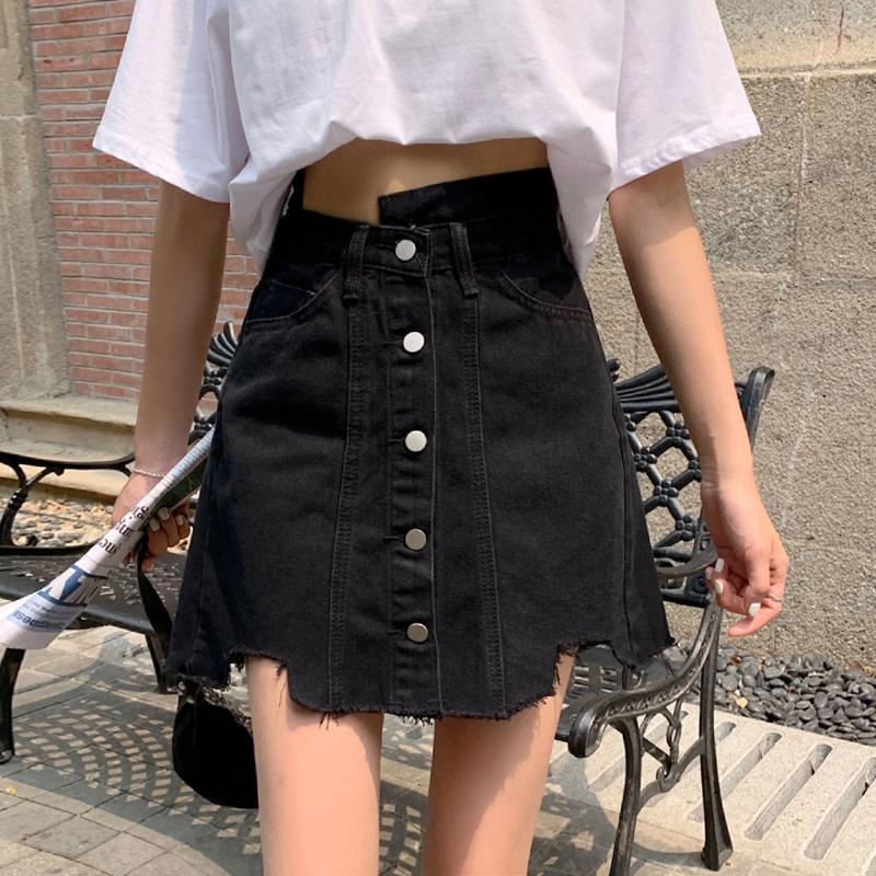 大码胖mm不规则牛仔短裙女2021夏季辣妹显瘦包臀高腰A字半身裙子