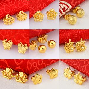 越南沙金小耳钉女防过敏耳棒仿真镀24k黄金耳环欧币首饰久不掉色