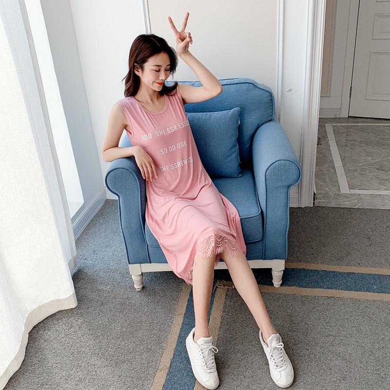 2021夏季新款女装韩版蕾丝拼接莫代尔连衣裙字母印花吊带背心裙