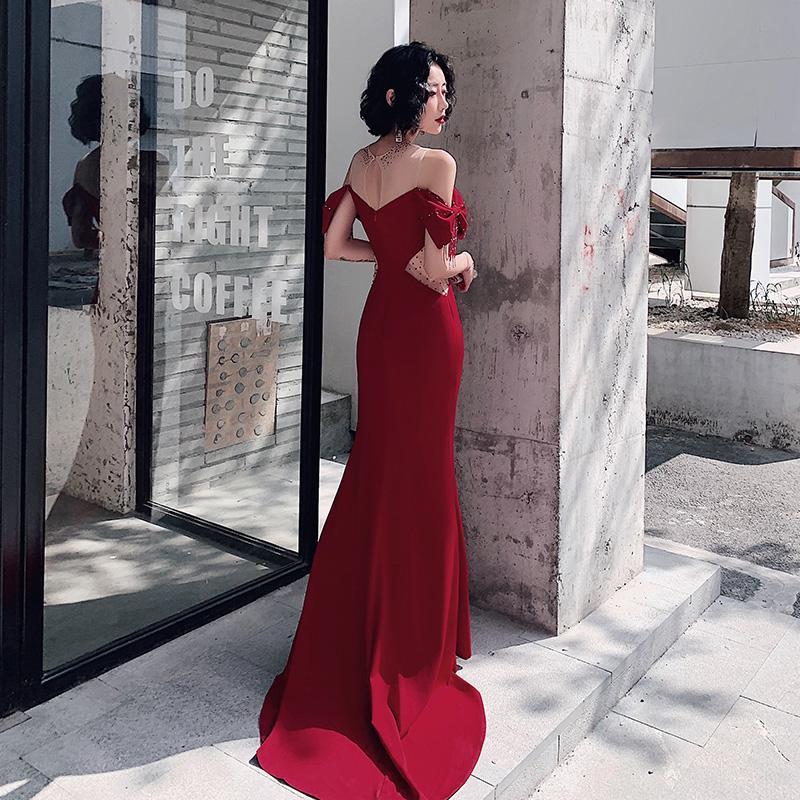 热销242件买三送一鱼尾新娘2019新款结婚酒红色高贵裙