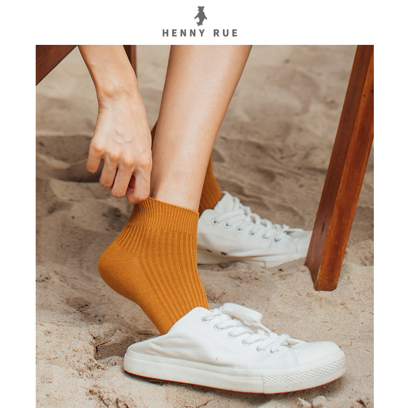 Henny rue spring and summer low top shallow mouth sports boat socks thin cotton womens socks solid short socks