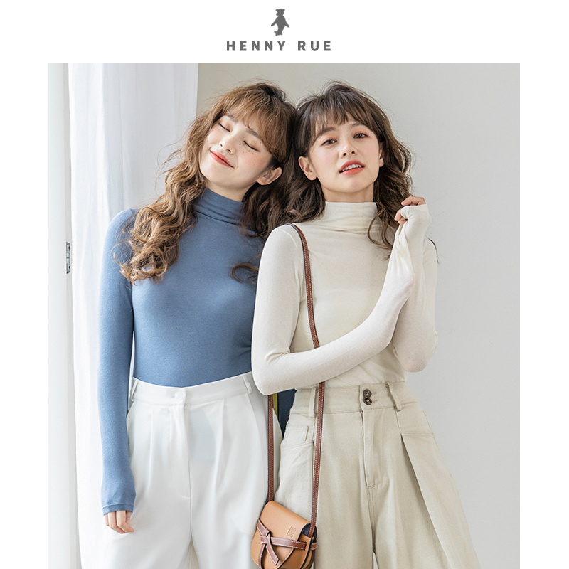 Henny rue middle neck high elastic bottoming shirt womens sweater warm underwear autumn winter top thin inner layer