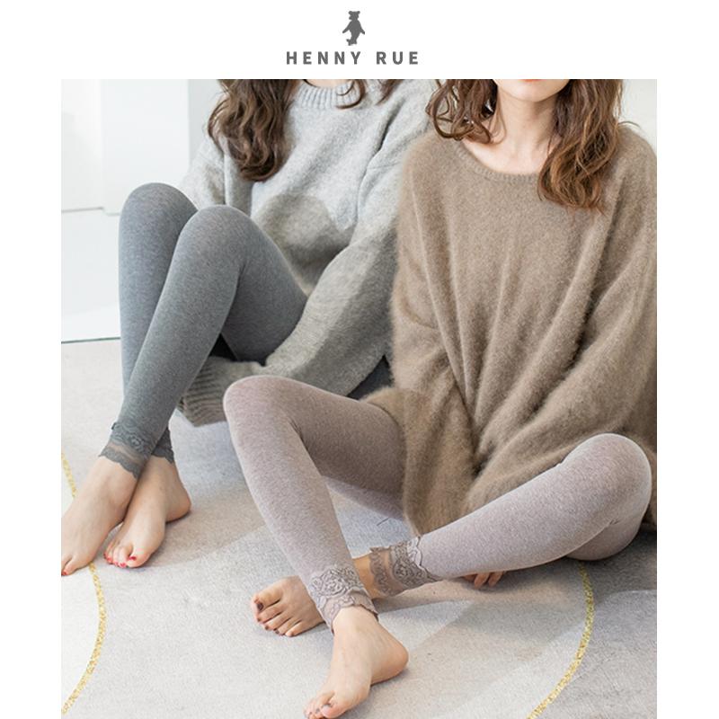 Henny rue spring and autumn thin nine point medium thick bottom socks womens grey lace pantyhose oatmeal black
