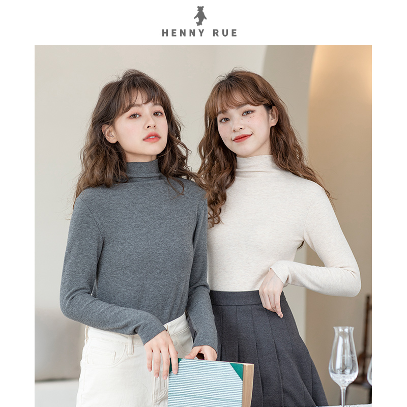 Autumn and winter 2019 new high collar bottoming shirt womens long sleeved foreign style with Korean version thin and plush warm autumn clothes T-shirt