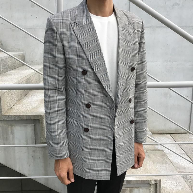格子西装男双排扣休闲外套百搭日系复古港风韩版潮流帅气单件上衣