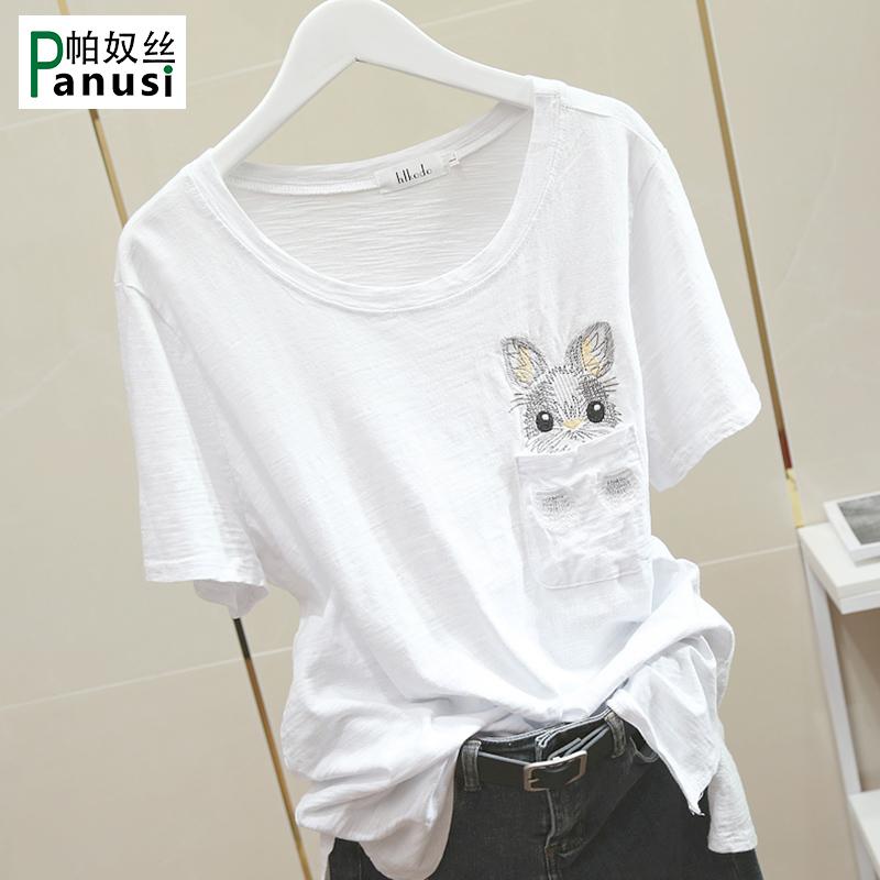 兔子刺绣白色短袖T恤女2019新款韩版宽松圆领竹节棉百搭下摆开叉