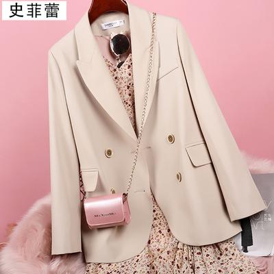 后背开叉米白色休闲百搭小个子西装外套女设计感小众西服上衣春秋