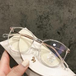 网红近视眼镜女防蓝光辐射抗疲劳护眼睛框架配电脑平光韩版潮透明