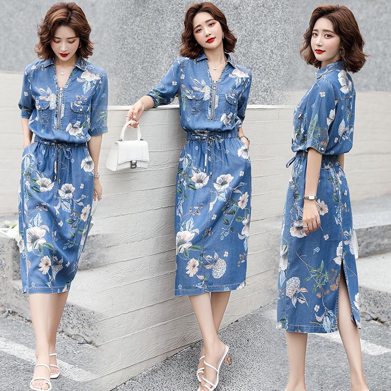 2021年の新型韓国版の気質は非常に人気があります。女性は夏にウエストが痩せて見えるプリントのデニムスカートです。