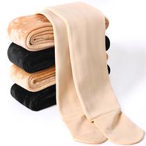 螺纹打底裤女外穿春秋薄款日系学生竖条显瘦燕麦米白色连裤袜奶咖