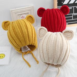秋冬宝宝针织毛线帽男女童韩版百搭可爱超萌套头帽婴儿保暖护耳帽