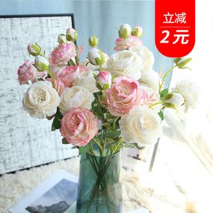 仿真牡丹花玫瑰餐桌花客廳擺設花束裝飾塑料仿真假花歐式絹花擺件