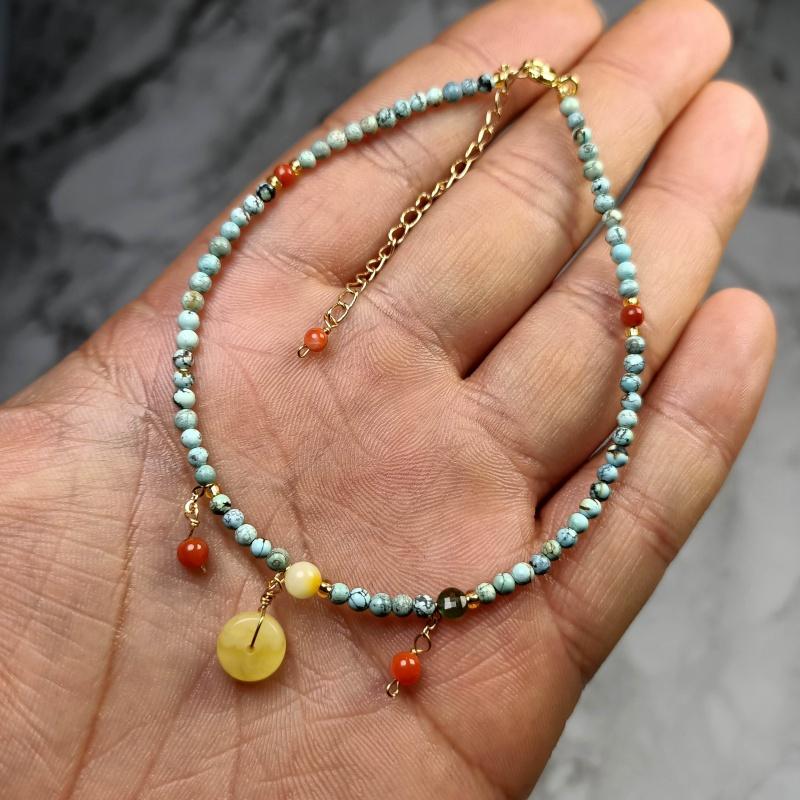 原矿绿松石单圈高瓷蓝绿松蜜蜡手链