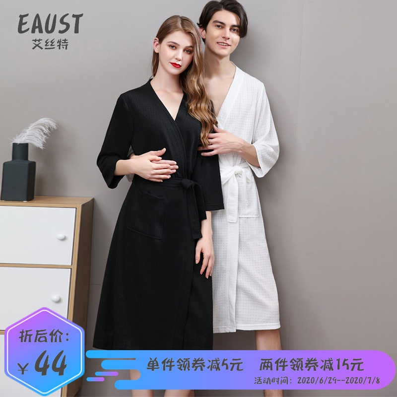 Summer thin 7 / 4 sleeve waffle bathrobe womens medium long water absorption quick drying plus size Nightgown mens bathrobe
