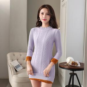 针织裙子女中长款秋冬季修身毛衣女半高领加绒2018新款针织衫套头