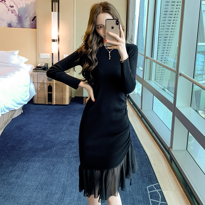 2019 new dress with fishtail over the knee and black dress with overcoat in autumn and winter