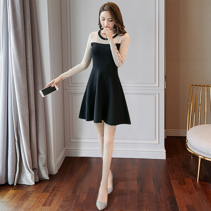 2020 new autumn and winter day long sleeve knitting with short dress, womens A-line backing, high temperament