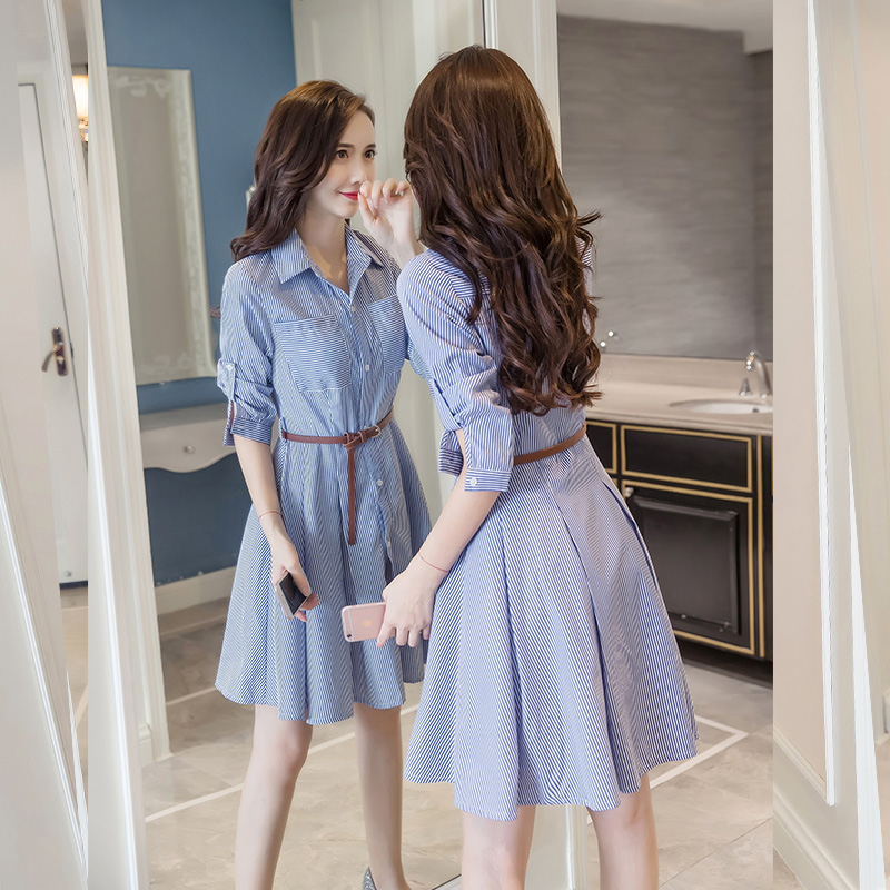 2020 new spring and autumn fit A-line mid length mid sleeve retro style Quarter Sleeve Shirt Dress
