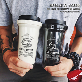 韩国梨花双层塑料杯子创意个性原宿女学生带茶隔冷萃咖啡随手水杯