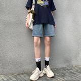 五分牛仔短裤女夏季2021年新款高腰5分裤薄款宽松显瘦阔腿裤中裤