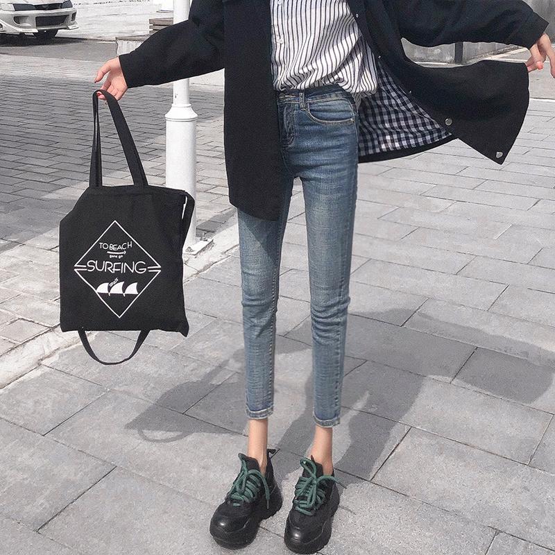 牛仔裤女2018春秋新款高腰韩版紧身显瘦港味复古chic风小脚九分裤